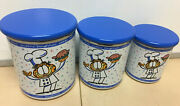 Retro Garfield The Cat Chef 6 Pc Storage Set Canisters3 W Wooden Lids3 Nib