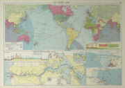 Panama Canal Effect On Ocean Routes. Maps Profiles. Colon. Large 1927 Old