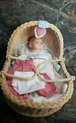 Vtg American Girl Pleasant Company Bitty Baby Moses Wicker Basket Clothes Teddy