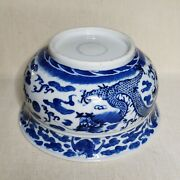 Antique Chinese Blue And White Porcelain Bowl 19th-20th Century.