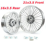 21and16 Fat Spoke Tubeless Front Rear Wheels For Harley Dyna Softail Touring 84-08