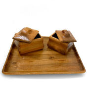 2 Anthroposophic Carved Woodentea Caddies On A Wooden Tray