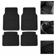 Car Rubber Floor Mats For All Weather Protection Semi Cusom Fit Black