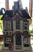 Fitz And Floyd Halloween Boo Haunted House Cookie Jar 2 Pc Ghost Cat Pumpkins 1987