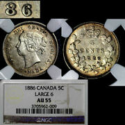 Elite Varieties Canada 5 Cents - 1886 Large Repunched 6/6 Au55 A463