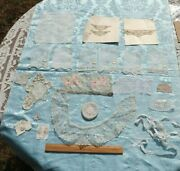 Antique French And Swiss Lace And Embroidery Doll Lot Of 31 Pieces