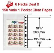 150 Clear Pages Lighthouse Vario 1c For Stamp Sheets / Large Bill Single Pocket