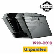 Unpainted Stretched Saddlebag Extended Bags With Lids For 93-13 Harley Touring