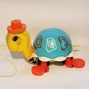 Vintage Old 1962 Fisher Price 773 Tip Toe Turtle Pull Toy Works Great Usa