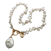 18 Freshwater Cultured White Keshi Pearl Necklace Coin Pearl Charm