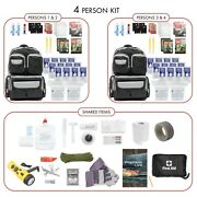 4 Person Deluxe Prepper Kit Emergency Survival Bug Out Bag Water Food First Aid