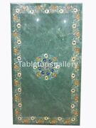 25x50 Marble Dining Table Top Carnelian Floral Inlay Restaurant Decorate B202b