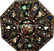 4' Marble Top Dining Table Multi Stone Floral And Birds Inlay Interior Decor B216c