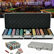 New 500ct. Las Vegas Poker Club 11.5g Clay Poker Chips Set With Aluminum Case Us