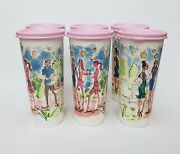 Tupperware Tumblers Cups With Lids16 Fl Oz Set Of 6 White Pink Women Man People