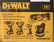 Dewalt 5-tool 20v Max Brushless Power Tool Combo Kit +2 Batteriescase And Charger