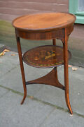 Early Victorian Sheraton Revival Rosewood And Mahogany Side Table Fine Painted