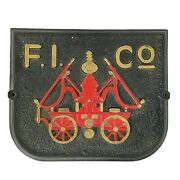 Fireman Insurance Cast Iron Sign Japan Vintage Replica Red Fire Engine Wall Hang