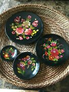 Vintage Wooden Wall Plates, Hand Painted ,set Of 4,home Decor, Thanksgiving