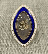 Antique Georgian 15k Gold Enamel Mourning Ring Hair Under Glass Circa 1790and039s