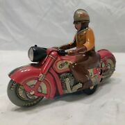 Schuco Red Motorcycle Charly 1005 Tin Litho Windup German Limited Re- Release.