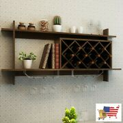 Wine Racks Bottle Holders Wall Mount Wine Rack With Glass Holder And Storage