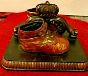 Antique Book Ends Cast Metal And Copper Baby Shoe And Crown Set Of 2 -marked On Back