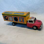 Vintage Tn Nomura World Circus Truck Tin Litho Friction Toy. Works See All Pics