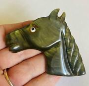 Vintage Bakelite Horse Head Brooch Green Pearlized 1940andrsquos Pin Plastic Jewelry
