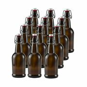 16 Oz Amber Glass Beer Bottles For Home Brewing 12 Packwith Flip Caps 16 Oz