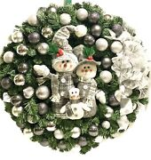 """Xl Christmas Wreath Gray Silver Holiday Shatterproof Ornaments 30"""" In/outdoor"""