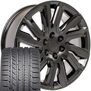 22 Black 5901 Wheels And Goodyear Tires Fit Chevy Tahoe Silverado High Country