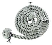 36mm Grey Bannister Rope X 4.2m C/w 5 Chrome Fittings And 5 Hardwood Mounts