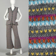 Small 1970s Colorful Knit Set Bell Bottoms Sweater Vest Striped Autumn Vtg 70s