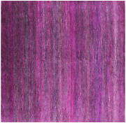 8and039 Square Super Savannah Gabbeh Hand Knotted Wool And Silk Rug - Q6091