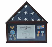 Shadow Box Flag Display Case For 5and039x9.5and039 Funeral Memorial Flag Fc07-mah Blu
