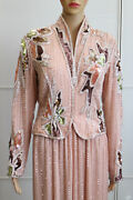 Bob Mackie Peachy Pink Dazzling Vintage Sequined Dress W/ Pearl Embellishments
