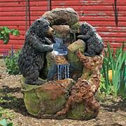 Grizzly Gulch Black Bears Resin Hand Finished Sculptural Garden Fountain