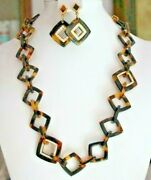 New 329 Tortoise Shell Crystal Necklace And Earrings 2pc Set