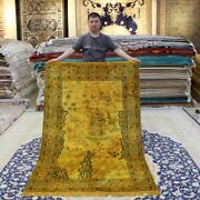 Yilong 4and039x6and039 Handmade Carpet Gold Tapestry Antique Hand Knotted Silk Rugs 067b