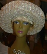 Jack Mcconnell Straw Lily Rhinestone Vintage Hat Had Red Feather Ornate Band