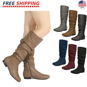 Dream Pairs Womenand039s Wide Calf Fur Slouchy Low Heel Flat Knee High Boots Size Us