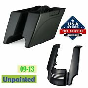 Unpainted Stretched Saddlebags Extended Bags Bottom Rear Fender For 93-13 Harley