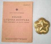 Ww2 1945 Yugoslavia Military Badge Army Horse Troops Mount Cavalry Id Card Pass