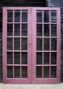 60x79 Pair Antique Vintage Old Wood Wooden French Double Doors 30 Window Glass