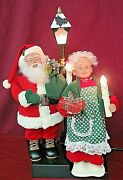 Holiday Creations Animated Holiday Scene Santa Lighted Pole Mrs. Claus Candle