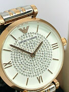 Emporio Armani Womenand039s Watch Ar1926 White Rose Gold Silver Pave Stainless Steel