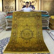 Yilong 5and039x8and039 Golden Hand Made Silk Area Rug Antique Hand Knotted Carpets 091b