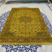 Yilong 5and039x8and039 Yellow Hand Made Silk Area Rug House Hand Knotted Carpets 092b