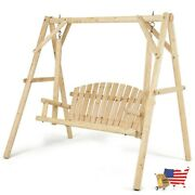Porch Swings Wooden Porch Bench Swing Chair With Outdoor Rustic Curved Back